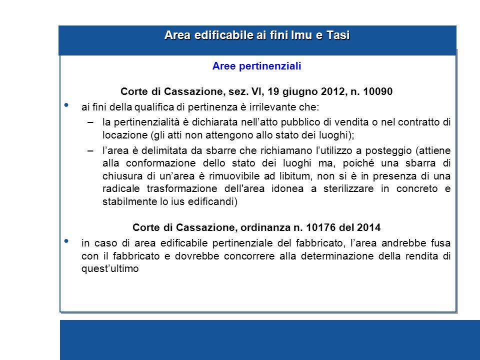 Area edificabile ai fini Imu e Tasi Aree pertinenziali Corte di Cassazione, sez. VI, 19 giugno 2012, n. 10090 ai fini della qualifica di pertinenza è