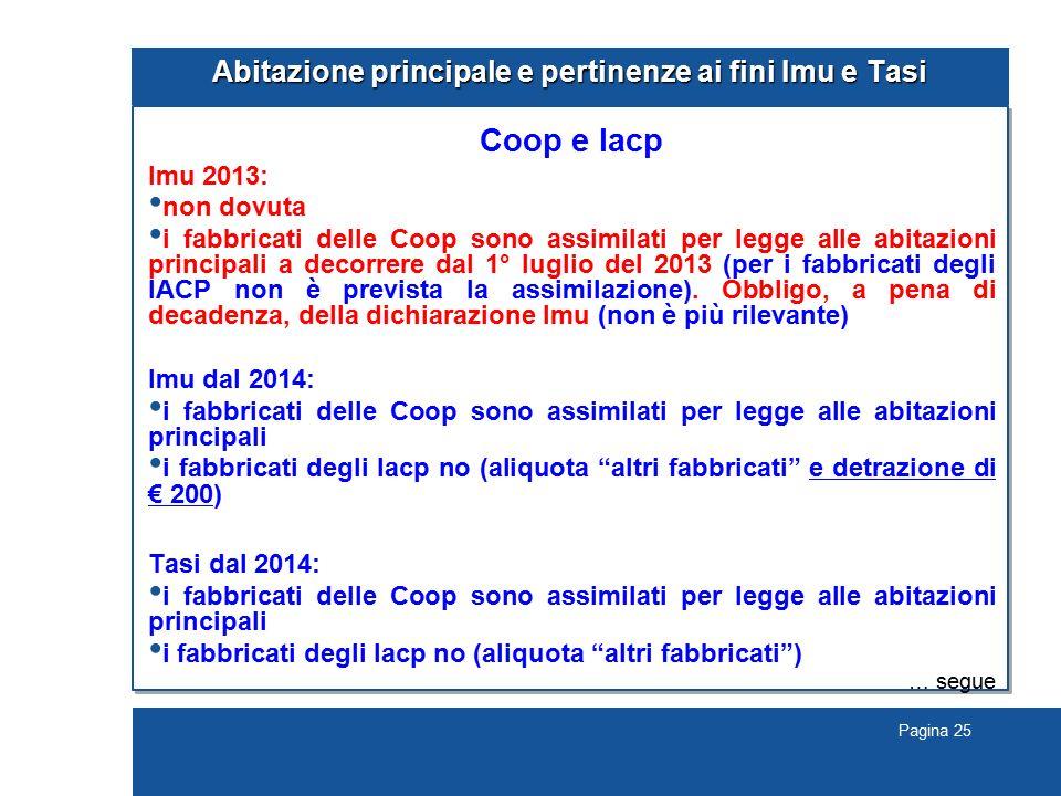 Pagina 25 Abitazione principale e pertinenze ai fini Imu e Tasi Coop e Iacp Imu 2013: non dovuta i fabbricati delle Coop sono assimilati per legge all