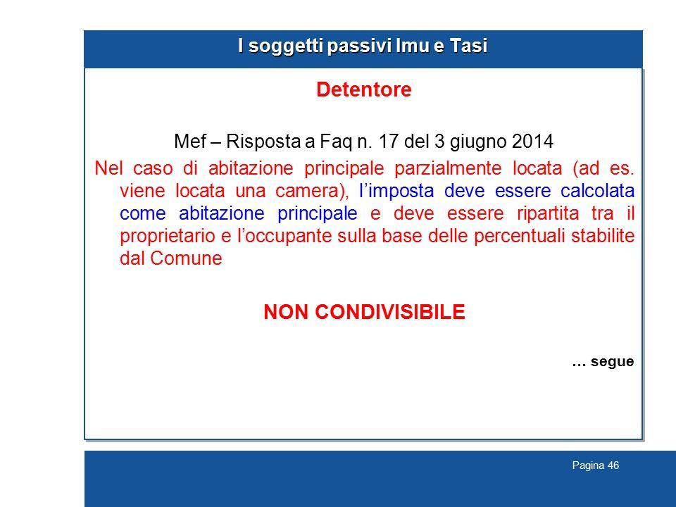 Pagina 46 I soggetti passivi Imu e Tasi Detentore Mef – Risposta a Faq n. 17 del 3 giugno 2014 Nel caso di abitazione principale parzialmente locata (