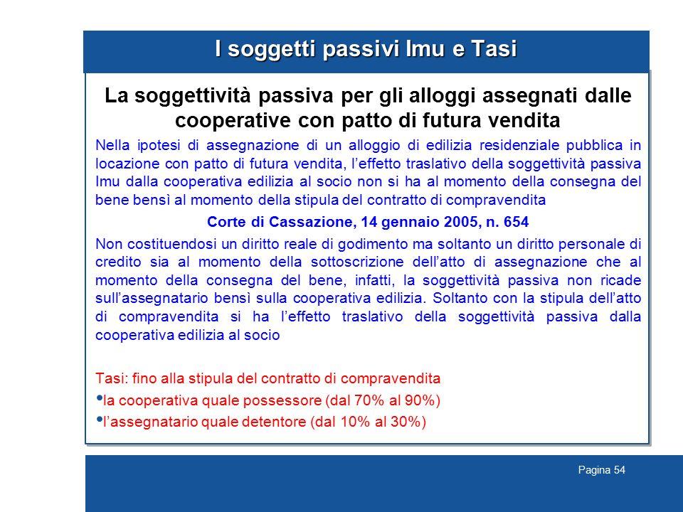 Pagina 54 I soggetti passivi Imu e Tasi La soggettività passiva per gli alloggi assegnati dalle cooperative con patto di futura vendita Nella ipotesi