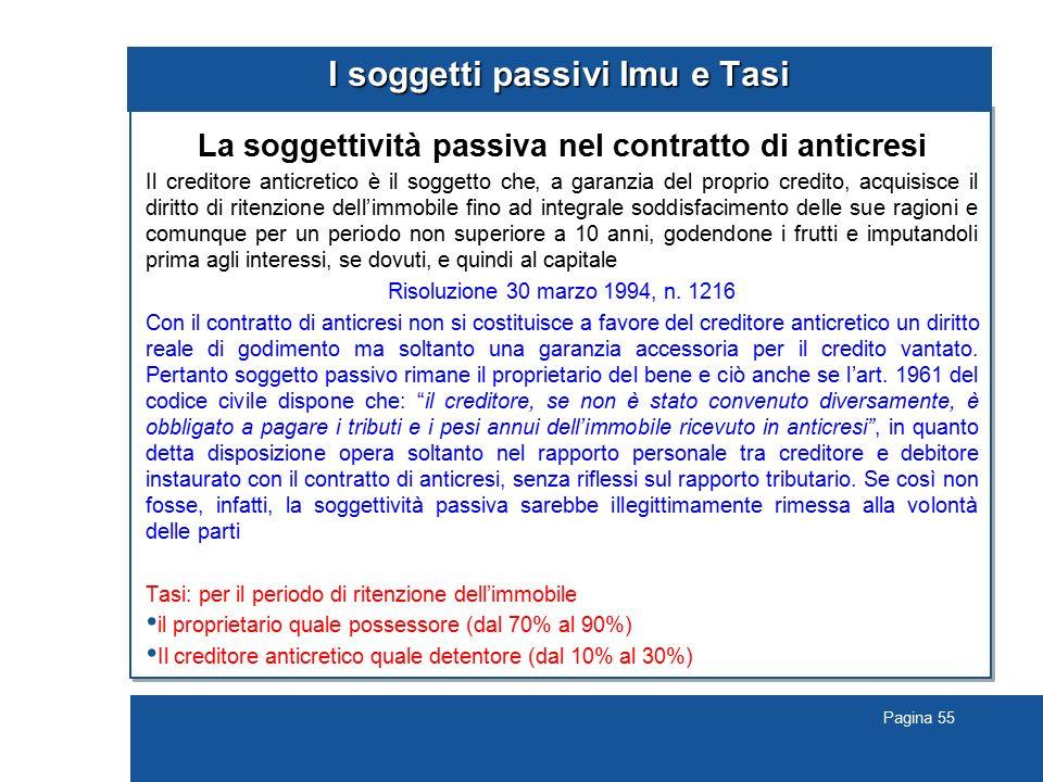 Pagina 55 I soggetti passivi Imu e Tasi La soggettività passiva nel contratto di anticresi Il creditore anticretico è il soggetto che, a garanzia del