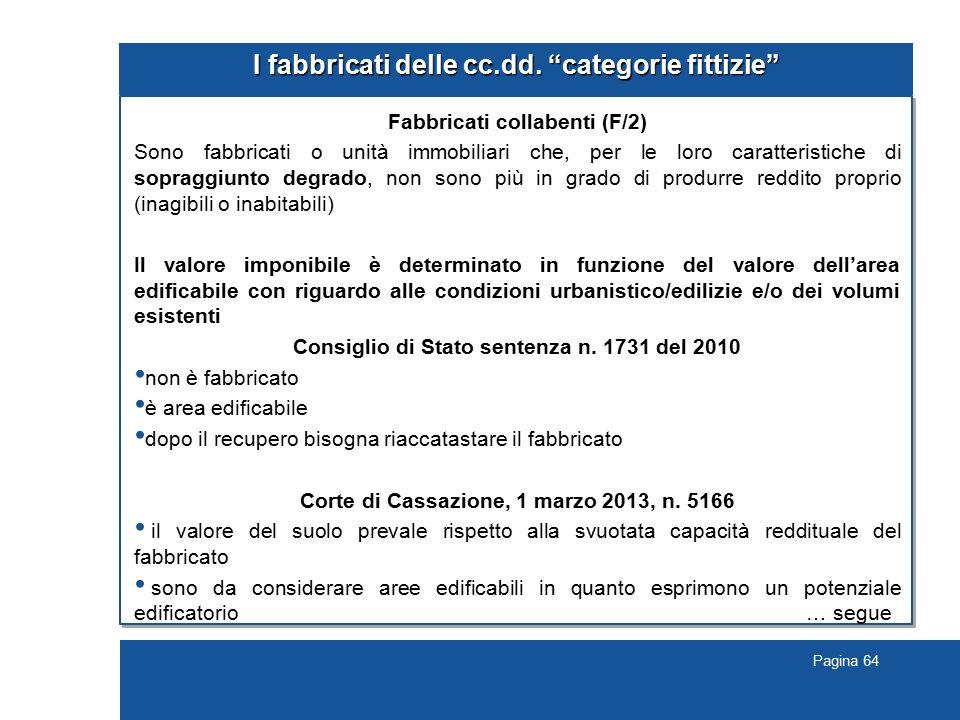 """Pagina 64 I fabbricati delle cc.dd. """"categorie fittizie"""" Fabbricati collabenti (F/2) Sono fabbricati o unità immobiliari che, per le loro caratteristi"""