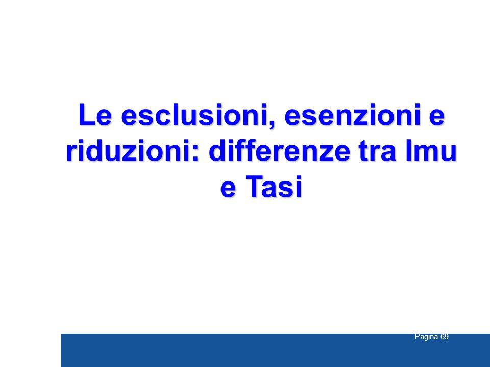 Pagina 69 Le esclusioni, esenzioni e riduzioni: differenze tra Imu e Tasi