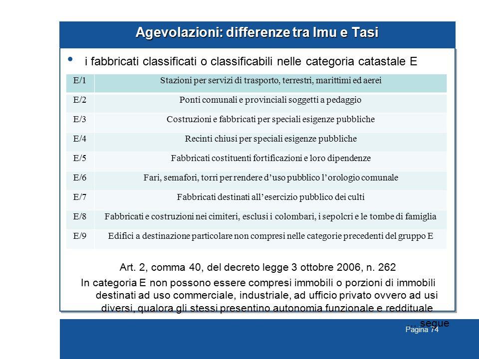 Pagina 74 Agevolazioni: differenze tra Imu e Tasi i fabbricati classificati o classificabili nelle categoria catastale E Art. 2, comma 40, del decreto