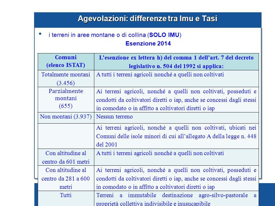 Pagina 77 Agevolazioni: differenze tra Imu e Tasi i terreni in aree montane o di collina (SOLO IMU) Esenzione 2014 … segue Comuni (elenco ISTAT) L'ese
