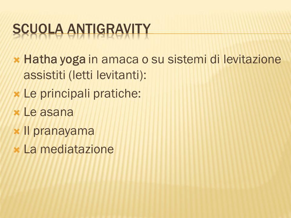  Hatha yoga in amaca o su sistemi di levitazione assistiti (letti levitanti):  Le principali pratiche:  Le asana  Il pranayama  La mediatazione