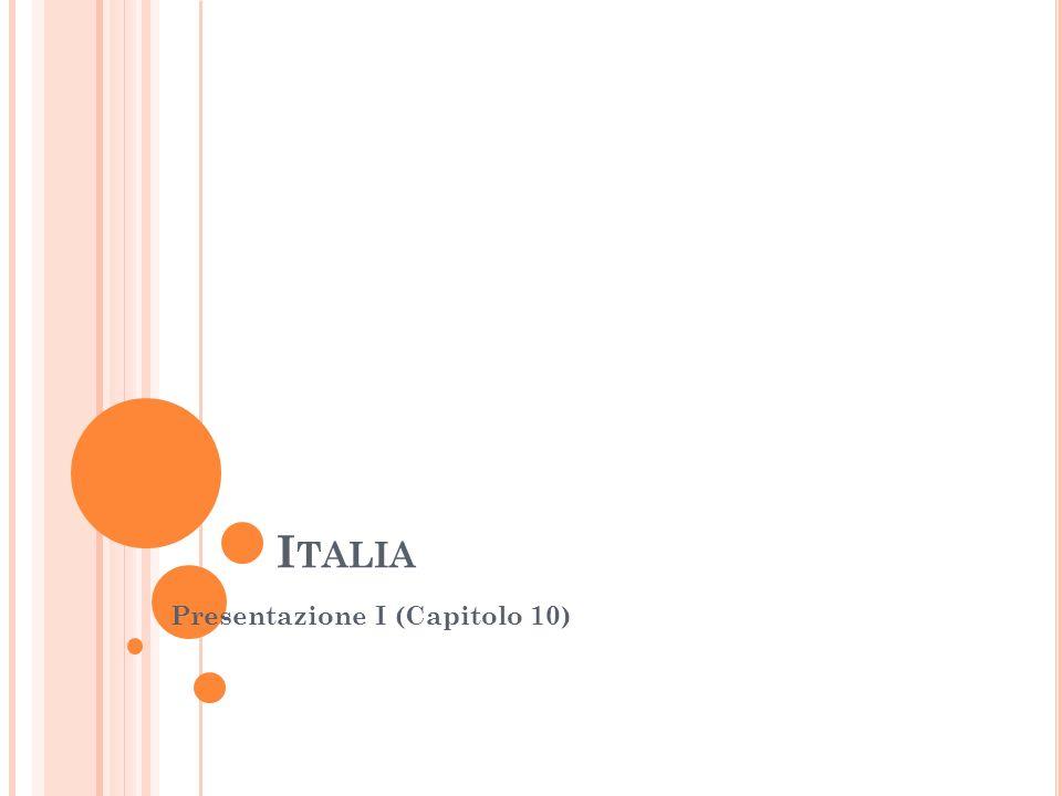 D OVE E ' SITUATA L ' ITALIA Europa meridionale: (vedi cartina) * confini: Slovenia, Austria, Svizzera, Francia E' una penisola che si allunga nel Mar Mediterraneo tra la penisola Iberica e penisola Balcanica Forma di uno stivale: circa 1200 Km di lunghezza, superficie di circa 301,000 Km2 Italia (detto anche Bel Paese) divisa geograficamente in 20 regioni per una migliore amministrazione del paese Ogni regione ha diverse caratteristiche fisiche e culturali Italia Nord o Settentrionale: Piemonte, Valle d'Aosta, Lombardia, Liguria, Trentino Alto-Adige, Veneto, Friuli- Venezia Giulia, Emilia-Romagna Italia Centrale: Toscana, Umbria, Marche, Lazio Italia Sud o Meridionale (detto anche Mezzogiorno): Abruzzo, Molise, Campania, Puglia, Basilicata, Calabria – Italia insulare: Sicilia, Sardegna Popolazione: circa 61 milioni di abitanti (dati 2013)