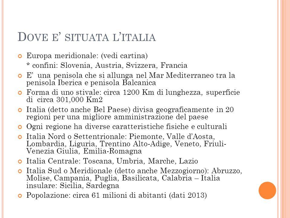 D OVE E ' SITUATA L ' ITALIA Europa meridionale: (vedi cartina) * confini: Slovenia, Austria, Svizzera, Francia E' una penisola che si allunga nel Mar