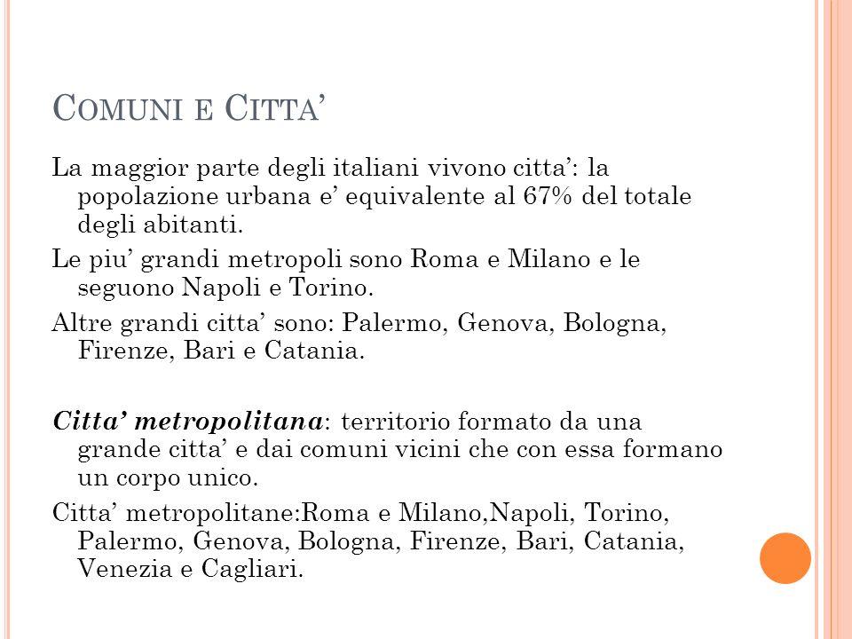 C OMUNI E C ITTA ' La maggior parte degli italiani vivono citta': la popolazione urbana e' equivalente al 67% del totale degli abitanti.