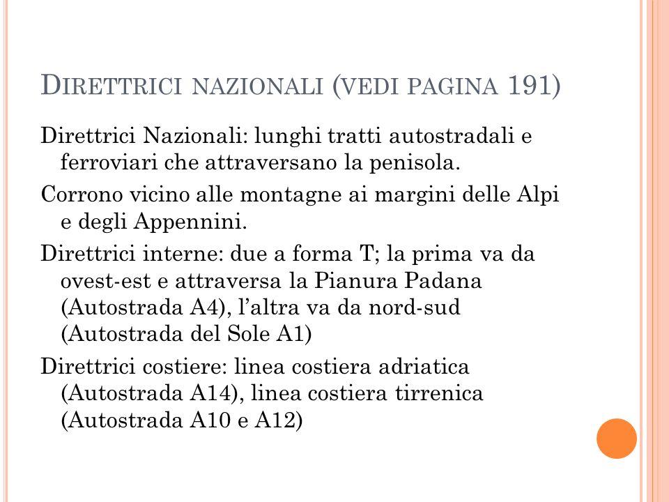 D IRETTRICI NAZIONALI ( VEDI PAGINA 191) Direttrici Nazionali: lunghi tratti autostradali e ferroviari che attraversano la penisola.