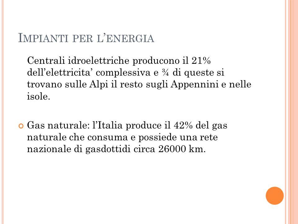 I MPIANTI PER L ' ENERGIA Centrali idroelettriche producono il 21% dell'elettricita' complessiva e ¾ di queste si trovano sulle Alpi il resto sugli Ap