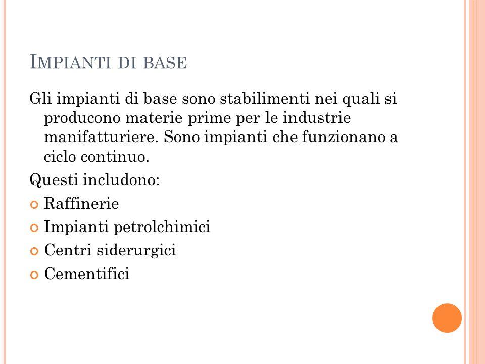 I MPIANTI DI BASE Gli impianti di base sono stabilimenti nei quali si producono materie prime per le industrie manifatturiere. Sono impianti che funzi