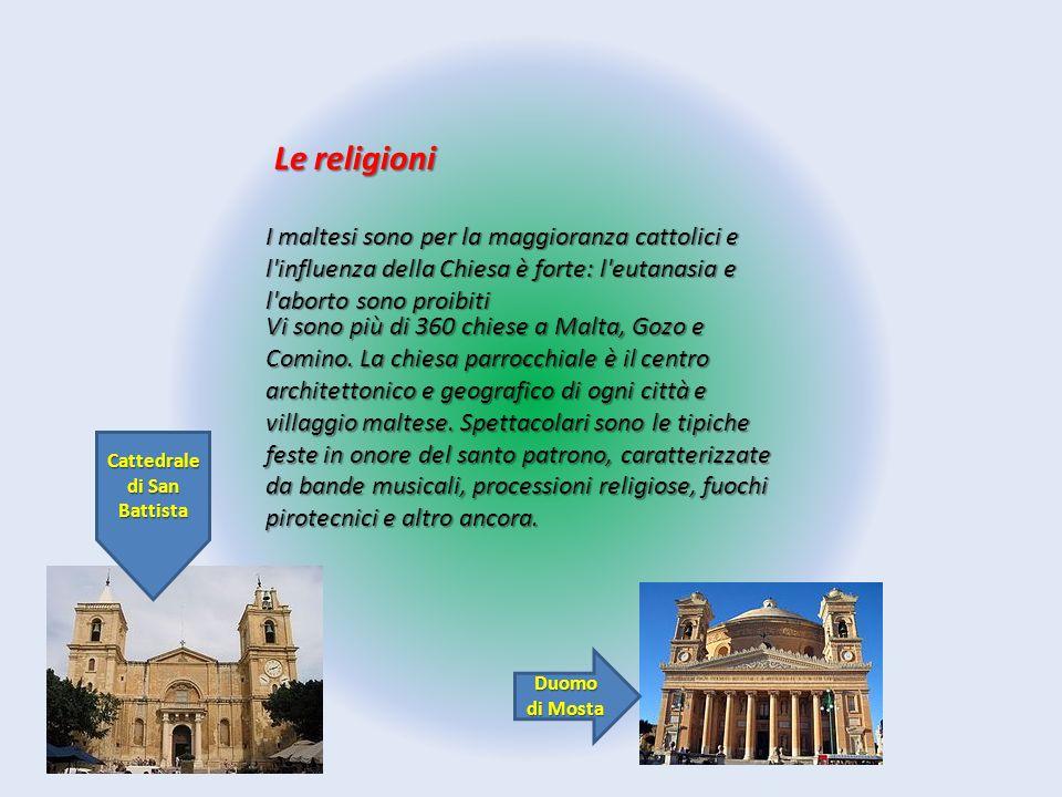 Le religioni I maltesi sono per la maggioranza cattolici e l'influenza della Chiesa è forte: l'eutanasia e l'aborto sono proibiti Vi sono più di 360 c