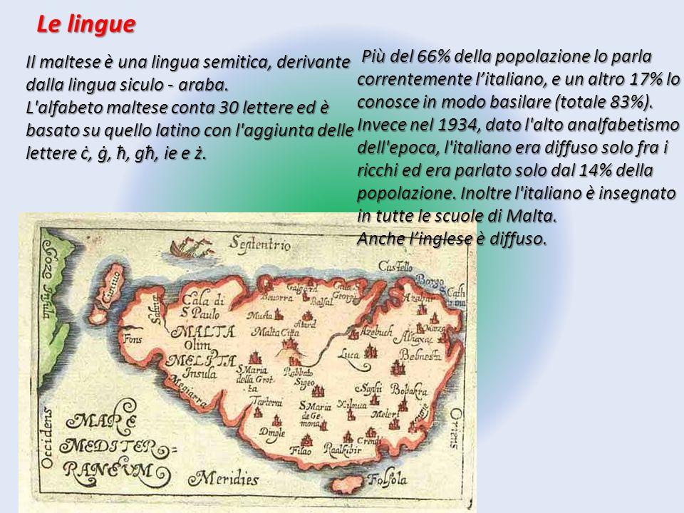 Le lingue Il maltese è una lingua semitica, derivante dalla lingua siculo - araba. L'alfabeto maltese conta 30 lettere ed è basato su quello latino co