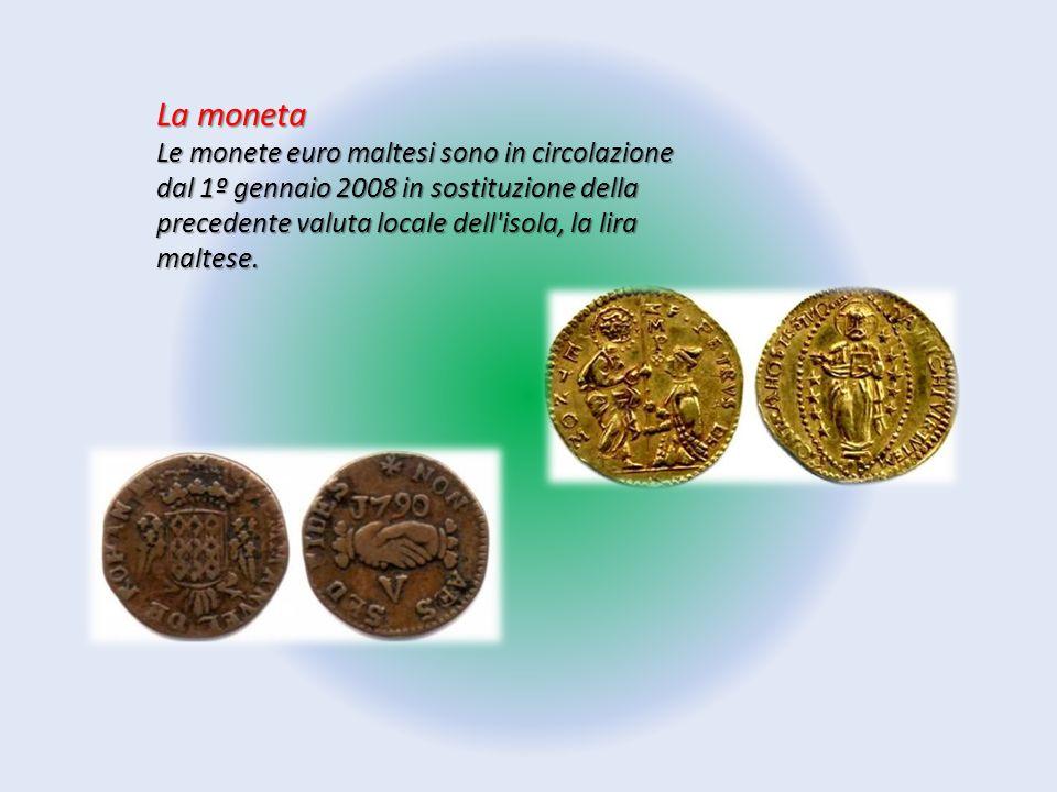La moneta Le monete euro maltesi sono in circolazione dal 1º gennaio 2008 in sostituzione della precedente valuta locale dell'isola, la lira maltese.