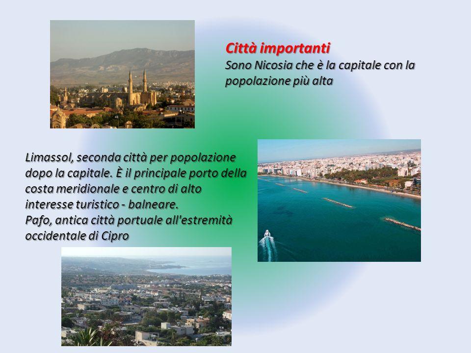 Città importanti Sono Nicosia che è la capitale con la popolazione più alta Limassol, seconda città per popolazione dopo la capitale. È il principale