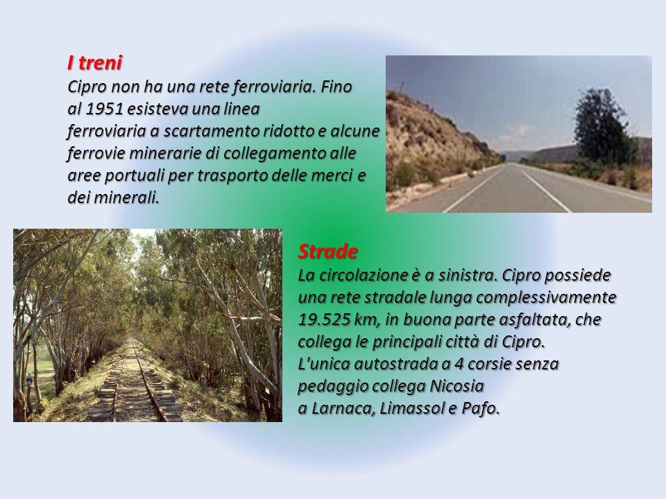 I treni Cipro non ha una rete ferroviaria. Fino al 1951 esisteva una linea ferroviaria a scartamento ridotto e alcune ferrovie minerarie di collegamen