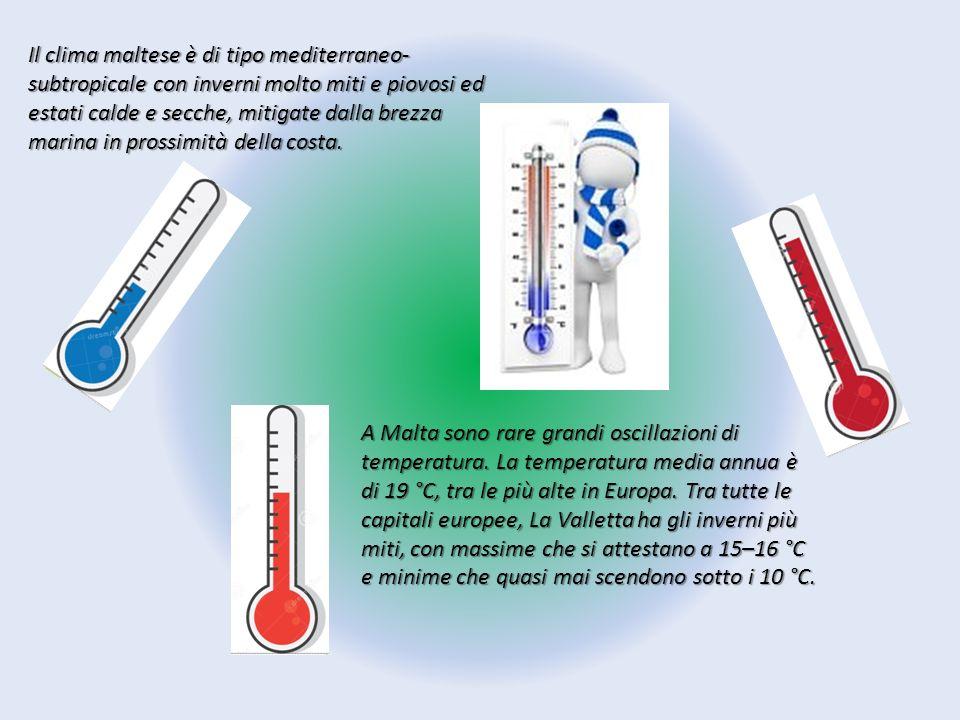 Il clima dell isola è di tipo mediterraneo - subtropicale, con estati calde e asciutte e inverni umidi ma temperati la temperatura massima è pari a 25,9 °C, quello della temperatura minima raggiunge i 12,5 °C.
