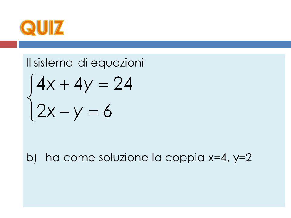Il sistema di equazioni a) ha come soluzione la coppia x=-7, y=4 b) ha come soluzione la coppia x=4, y=2 c) ha come soluzione la coppia x=1, y=-5 d) ha come soluzione la coppia x=5, y=-1 e) Nessuna delle precedenti