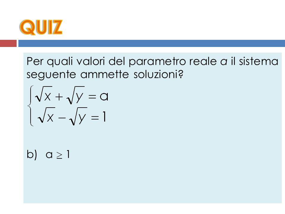 Per quali valori del parametro reale a il sistema seguente ammette soluzioni? a) a > 0 b) a 1 c) a 0 d) Nessun valore di a e) a > 1