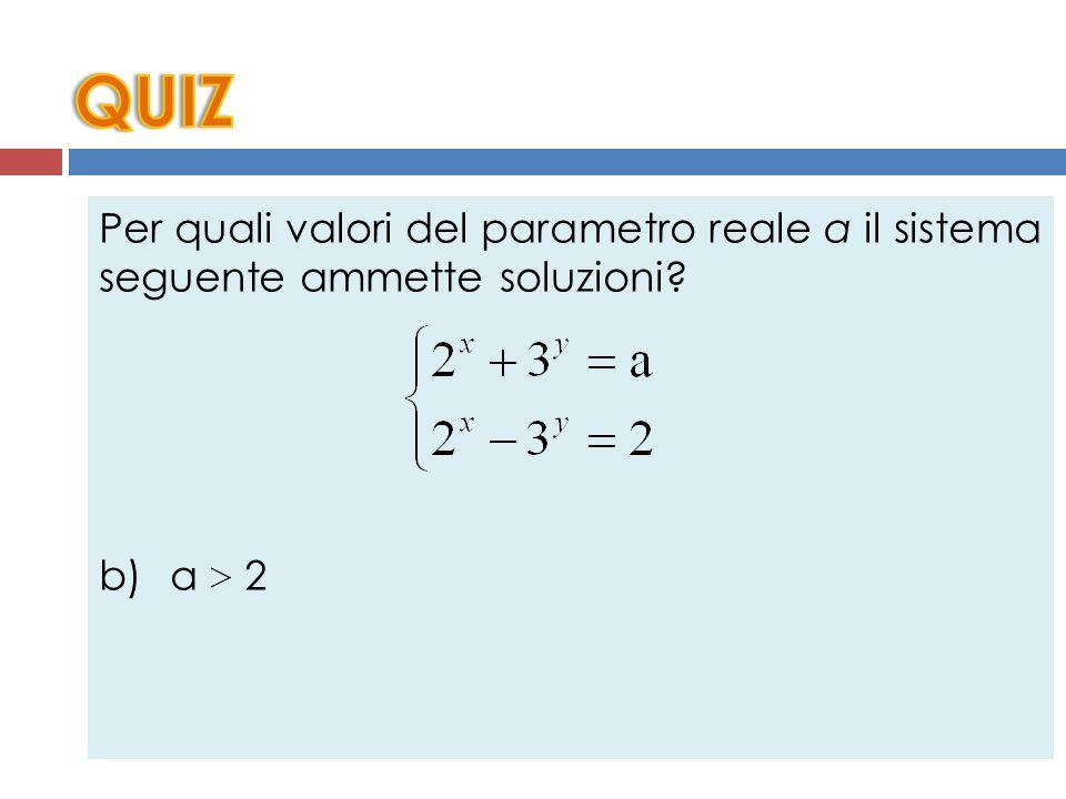 Per quali valori del parametro reale a il sistema seguente ammette soluzioni? a) a > 0 b) a 2 c) a 2 d) a < 0 e) a < 2
