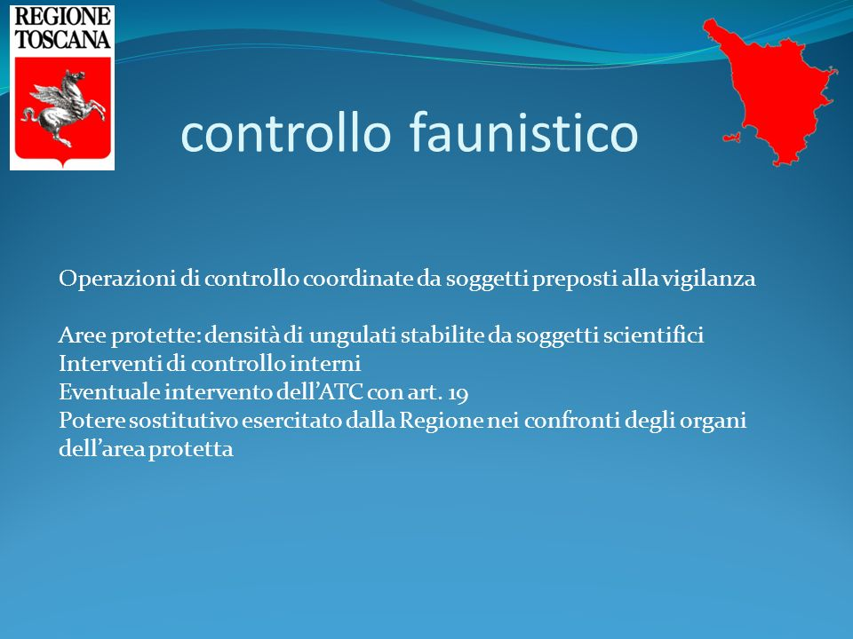 controllo faunistico Operazioni di controllo coordinate da soggetti preposti alla vigilanza Aree protette: densità di ungulati stabilite da soggetti scientifici Interventi di controllo interni Eventuale intervento dell'ATC con art.
