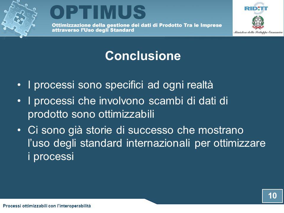 Conclusione I processi sono specifici ad ogni realtà I processi che involvono scambi di dati di prodotto sono ottimizzabili Ci sono già storie di successo che mostrano l'uso degli standard internazionali per ottimizzare i processi 10 Processi ottimizzabili con l'interoperabilità