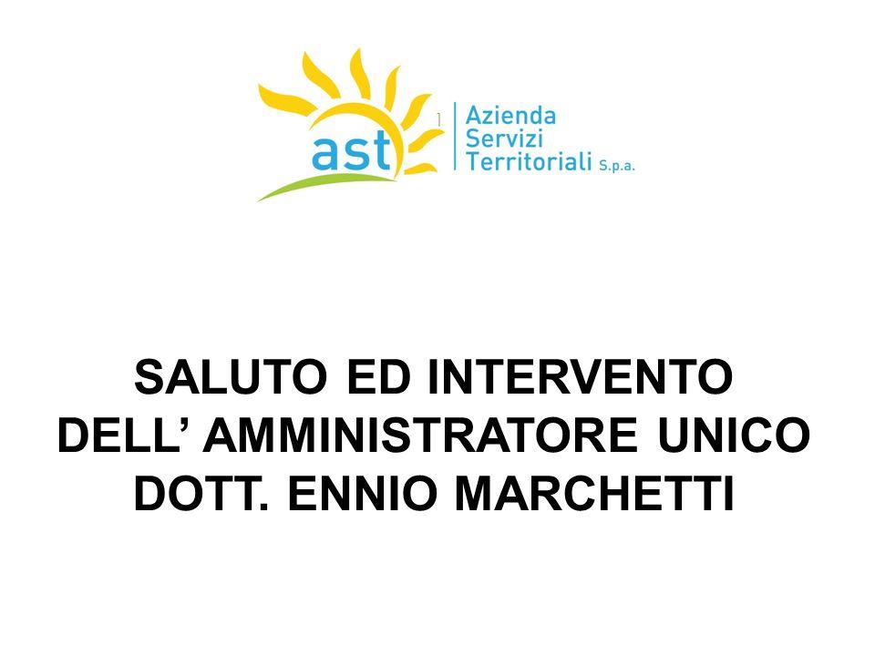 SALUTO ED INTERVENTO DELL' AMMINISTRATORE UNICO DOTT. ENNIO MARCHETTI 17/09/2015 1