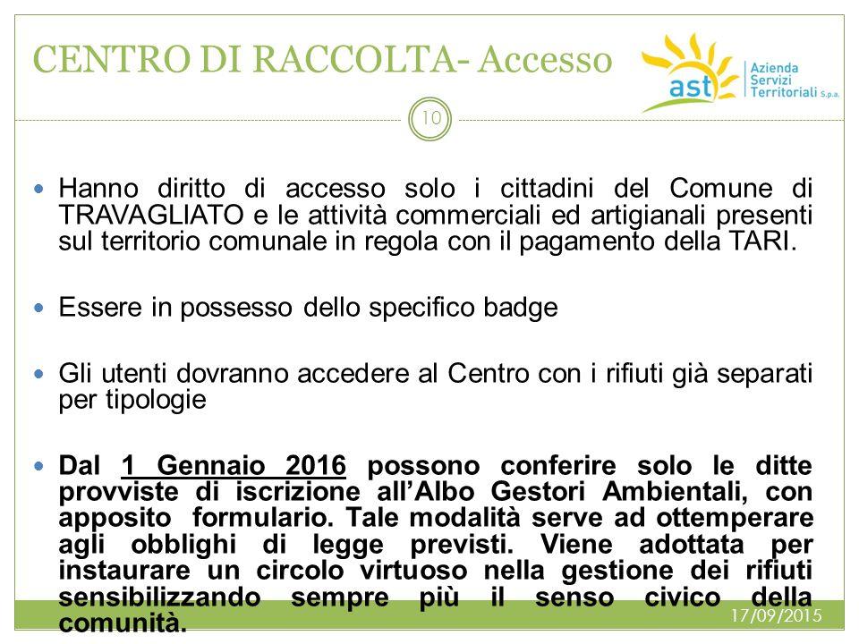 CENTRO DI RACCOLTA- Accesso Hanno diritto di accesso solo i cittadini del Comune di TRAVAGLIATO e le attività commerciali ed artigianali presenti sul