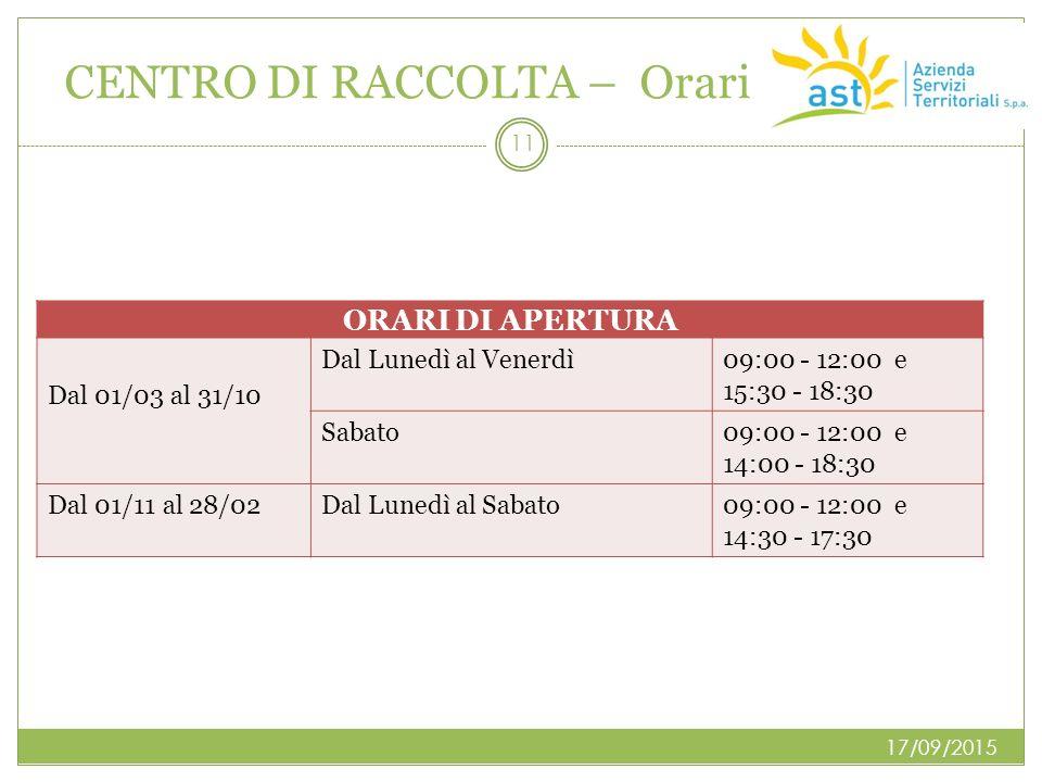 CENTRO DI RACCOLTA – Orari 17/09/2015 11 ORARI DI APERTURA Dal 01/03 al 31/10 Dal Lunedì al Venerdì 09:00 - 12:00 e 15:30 - 18:30 Sabato09:00 - 12:00