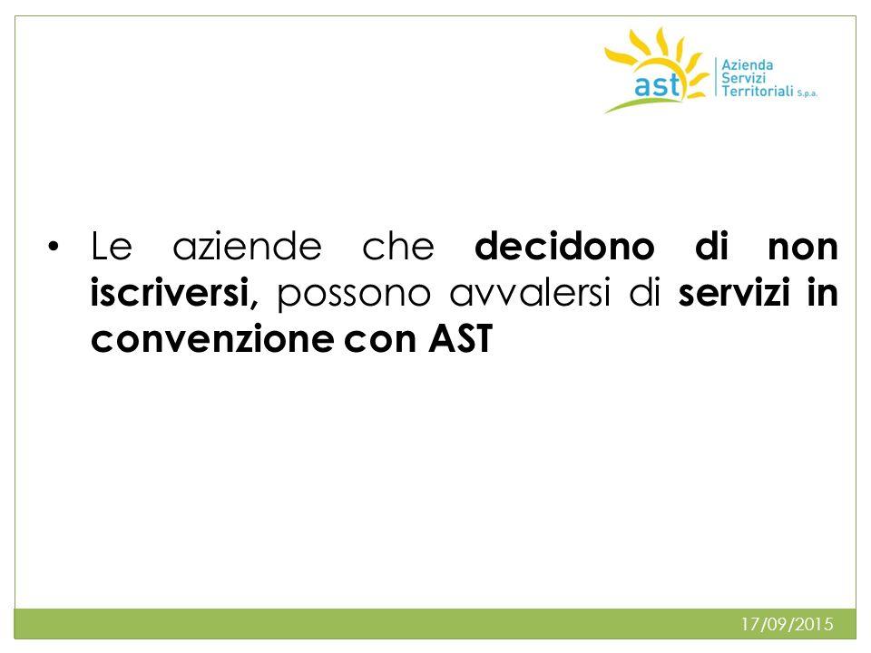 17/09/2015 Le aziende che decidono di non iscriversi, possono avvalersi di servizi in convenzione con AST