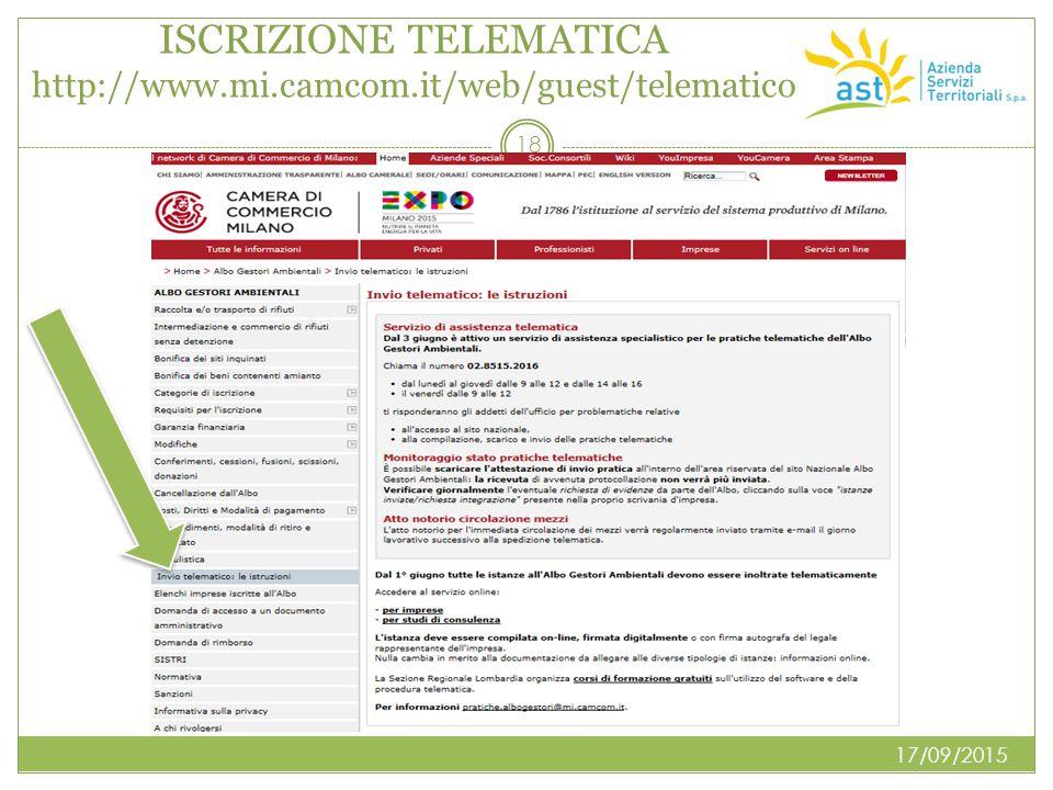 ISCRIZIONE TELEMATICA http://www.mi.camcom.it/web/guest/telematico 17/09/2015 18