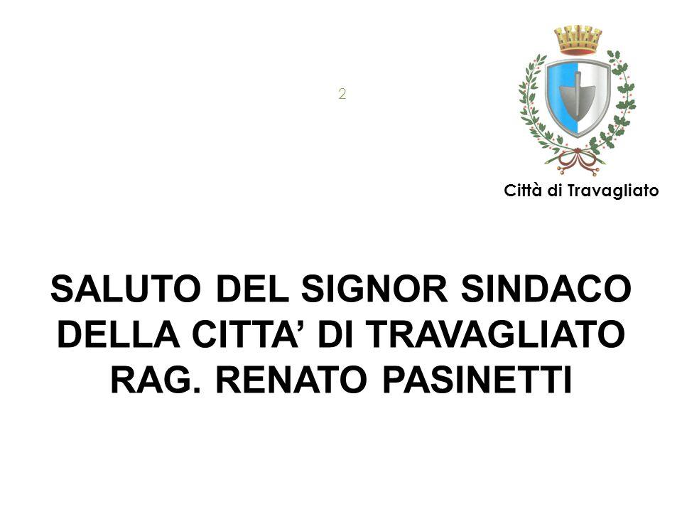 SALUTO DEL SIGNOR SINDACO DELLA CITTA' DI TRAVAGLIATO RAG. RENATO PASINETTI 17/09/2015 2 Città di Travagliato
