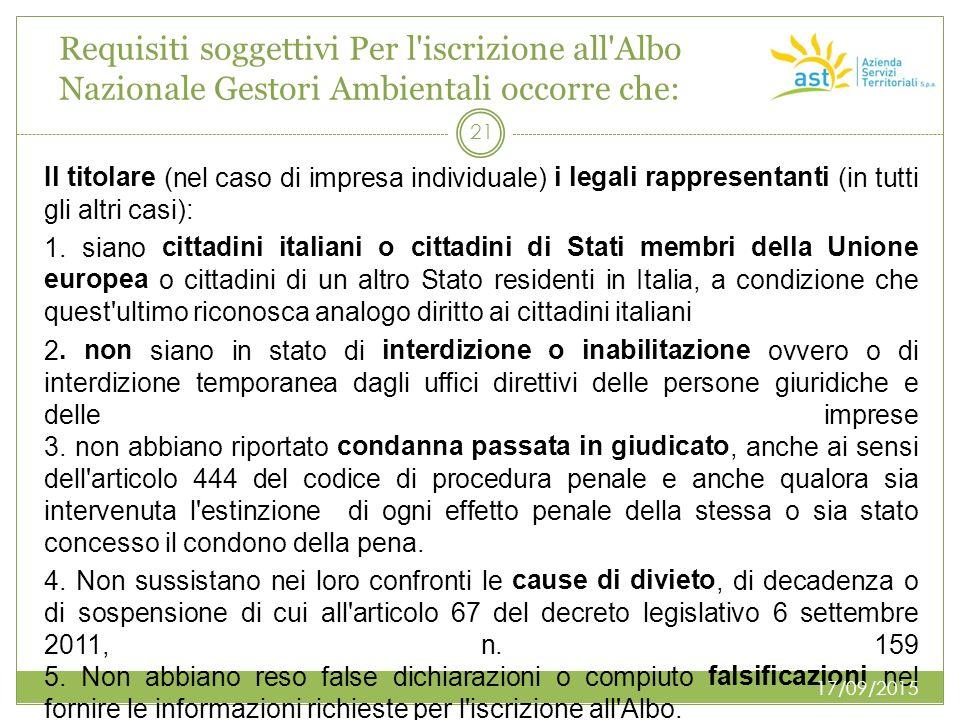 Requisiti soggettivi Per l'iscrizione all'Albo Nazionale Gestori Ambientali occorre che: Il titolare (nel caso di impresa individuale) i legali rappre