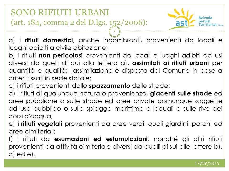 SONO RIFIUTI URBANI (art. 184, comma 2 del D.lgs. 152/2006): 17/09/2015 7 a) i rifiuti domestici, anche ingombranti, provenienti da locali e luoghi ad