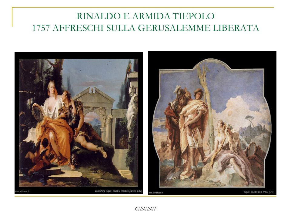 CANANA' RINALDO E ARMIDA TIEPOLO 1757 AFFRESCHI SULLA GERUSALEMME LIBERATA