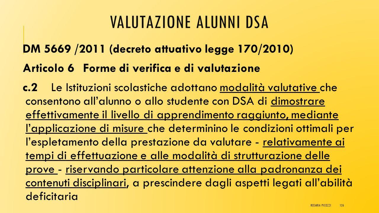 VALUTAZIONE ALUNNI DSA LEGGE 170/2010 Art. 5 Misure educative e didattiche di supporto, comma 4 Agli studenti con DSA sono garantite, durante il perco
