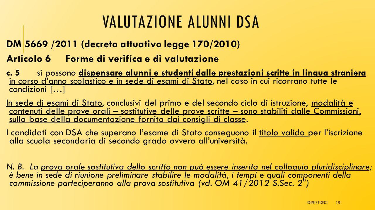 VALUTAZIONE ALUNNI DSA DM 5669 /2011 (decreto attuativo legge 170/2010) Articolo 6 Forme di verifica e di valutazione c. 4. Le Istituzioni scolastiche