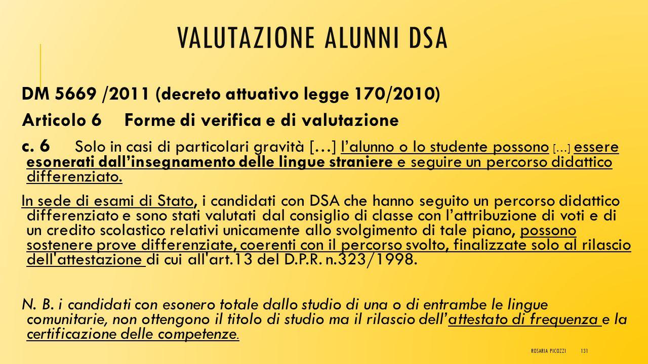 VALUTAZIONE ALUNNI DSA DM 5669 /2011 (decreto attuativo legge 170/2010) Articolo 6 Forme di verifica e di valutazione c. 5 si possono dispensare alunn