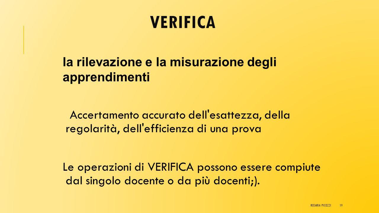 PRIMA DEL SIGNIFICATO DI COMPETENZA :  Verifica  Valutazione  Validazione  Certificazione ROSARIA PICOZZI18