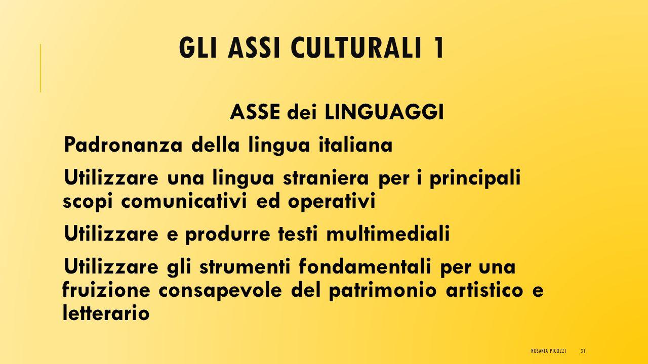 ASSI CULTURALI Gli assi culturali rappresentano la base (interdisciplinare e pluridisciplinare ) in termini di conoscenza e abilità/capacità per il ra