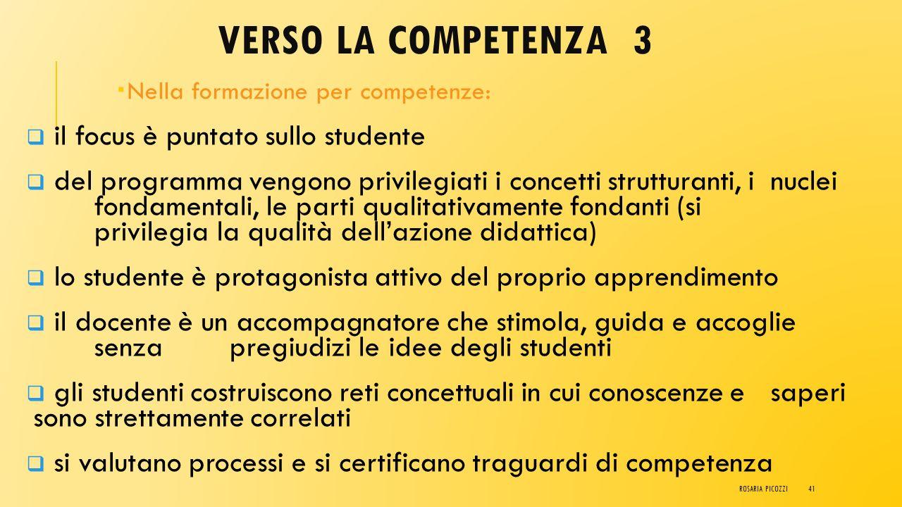 VERSO LA COMPETENZA 2 Nella scuola del programma:  il focus è puntato sui contenuti  il programma deve essere sostanzialmente svolto per intero segu
