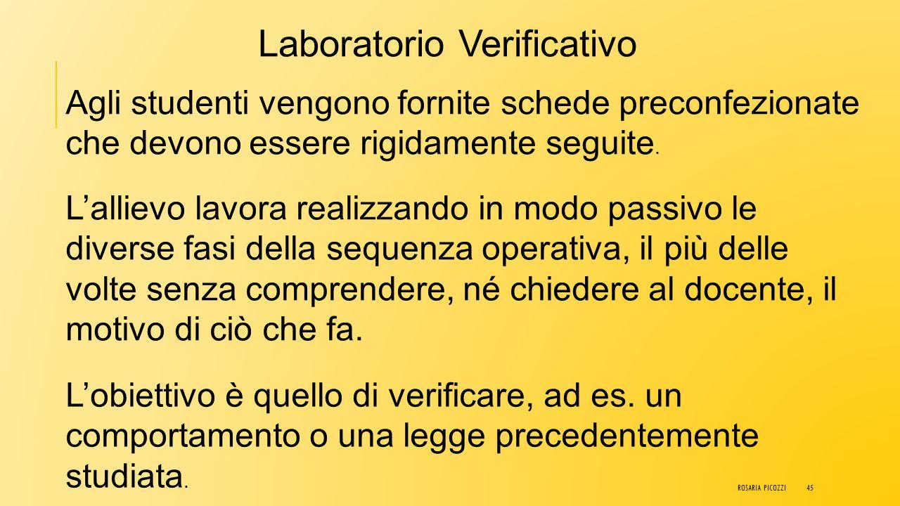 TIPOLOGIE DI LABORATORI LABORATORIO VERIFICATIVO LABORATORIO ADDESTRATIVO LABORATORIO FORMATIVO ROSARIA PICOZZI44