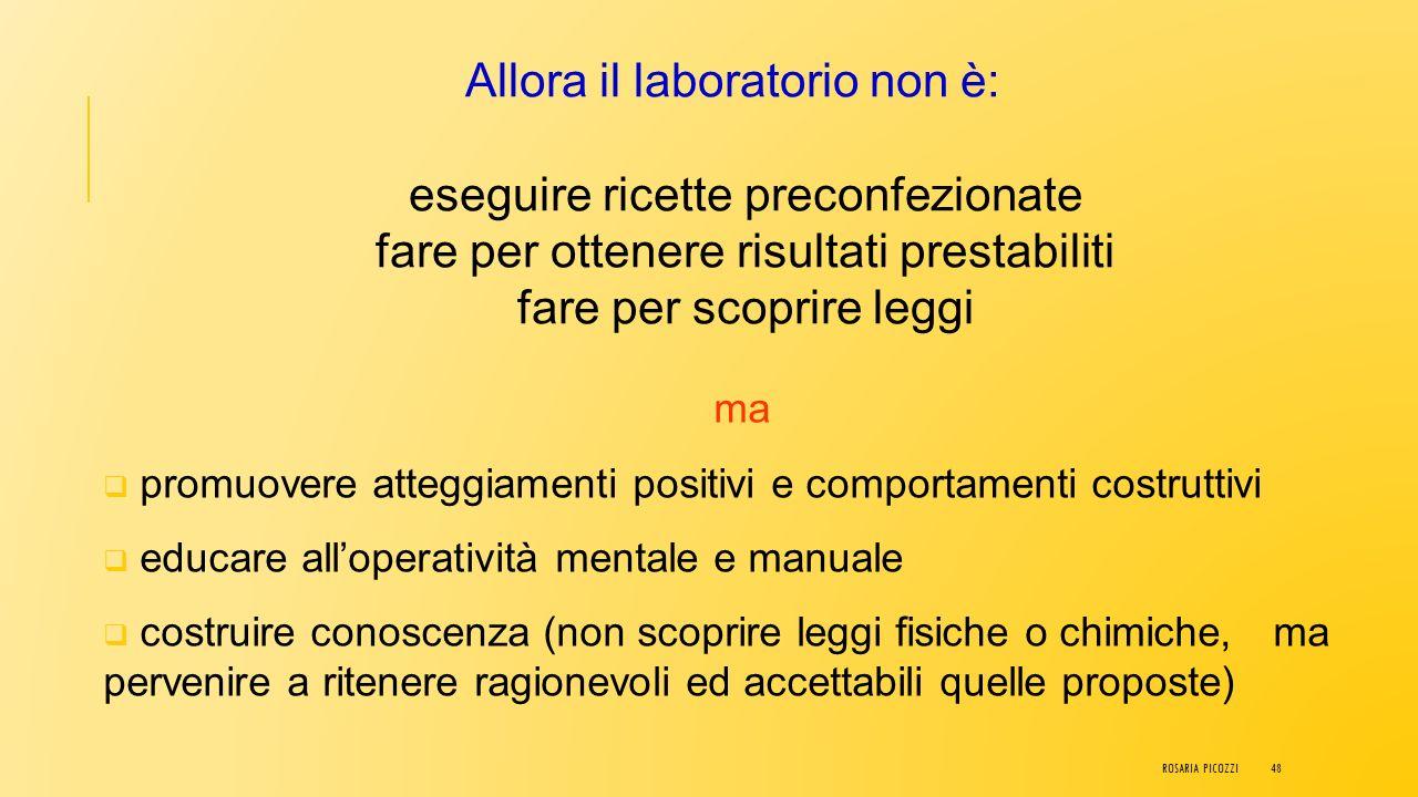 Laboratorio Formativo L'attività parte da una situazione problematica che, discussa tra alunni e docente, porta alla formulazione di ipotesi e alla pr