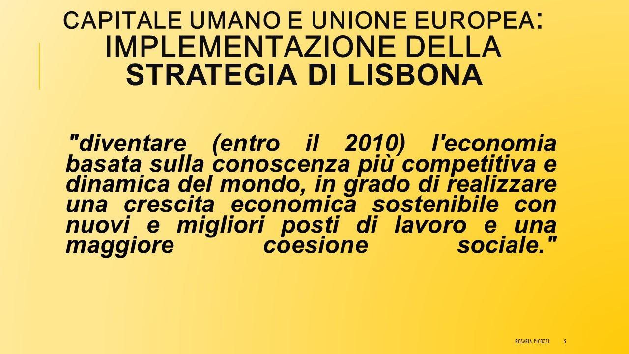 CAPITALE UMANO E UNIONE EUROPEA : IMPLEMENTAZIONE DELLA STRATEGIA DI LISBONA La strategia di Lisbona è un programma di riforme economiche approvato a