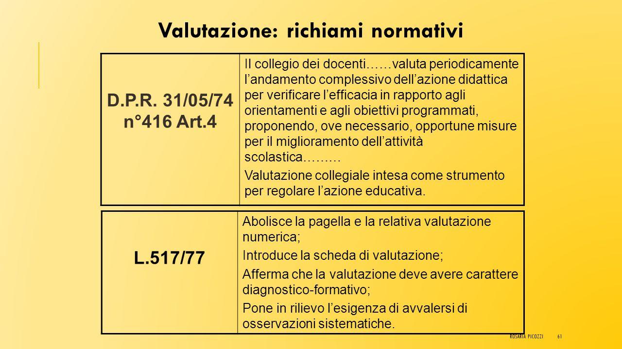 VALUTAZIONE PER UNA VALUTAZIONE DELLE COMPETENZE ROSARIA PICOZZI60