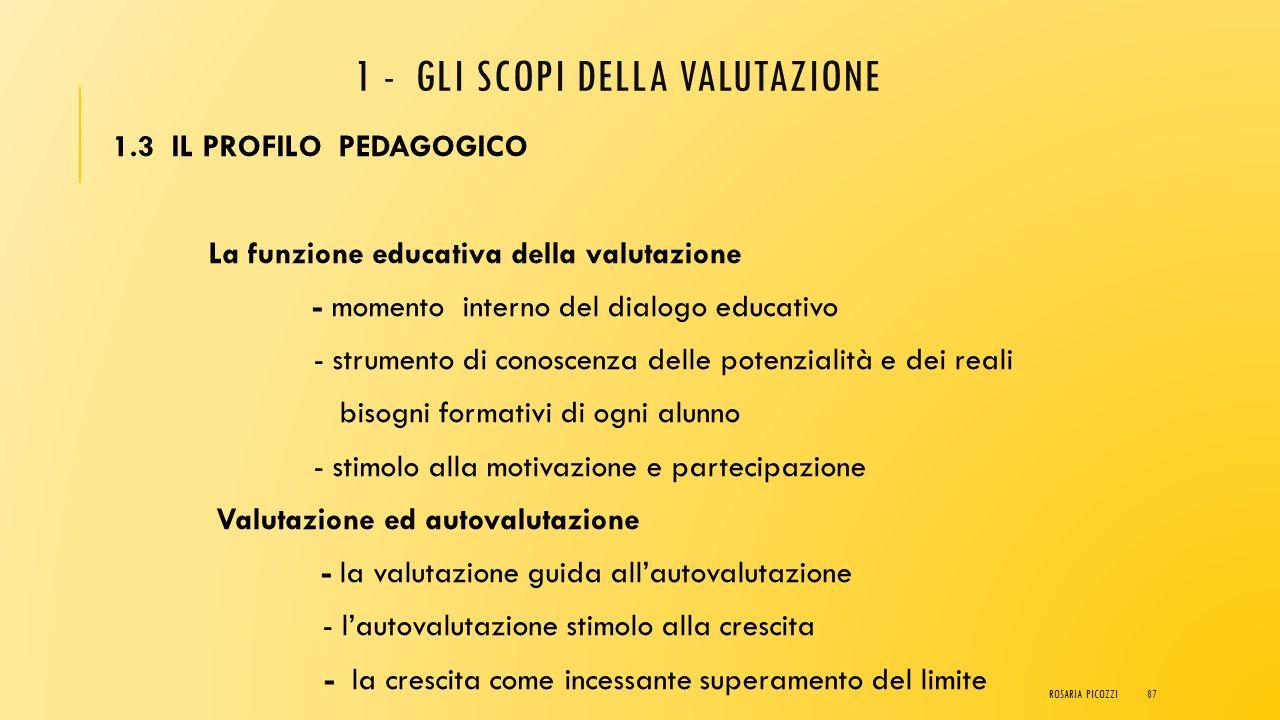 1 - GLI SCOPI DELLA VALUTAZIONE 1.2 IL PROFILO GIURIDICO La rilevanza giuridica degli aspetti sostanziali della valutazione - Valutazione e certificaz