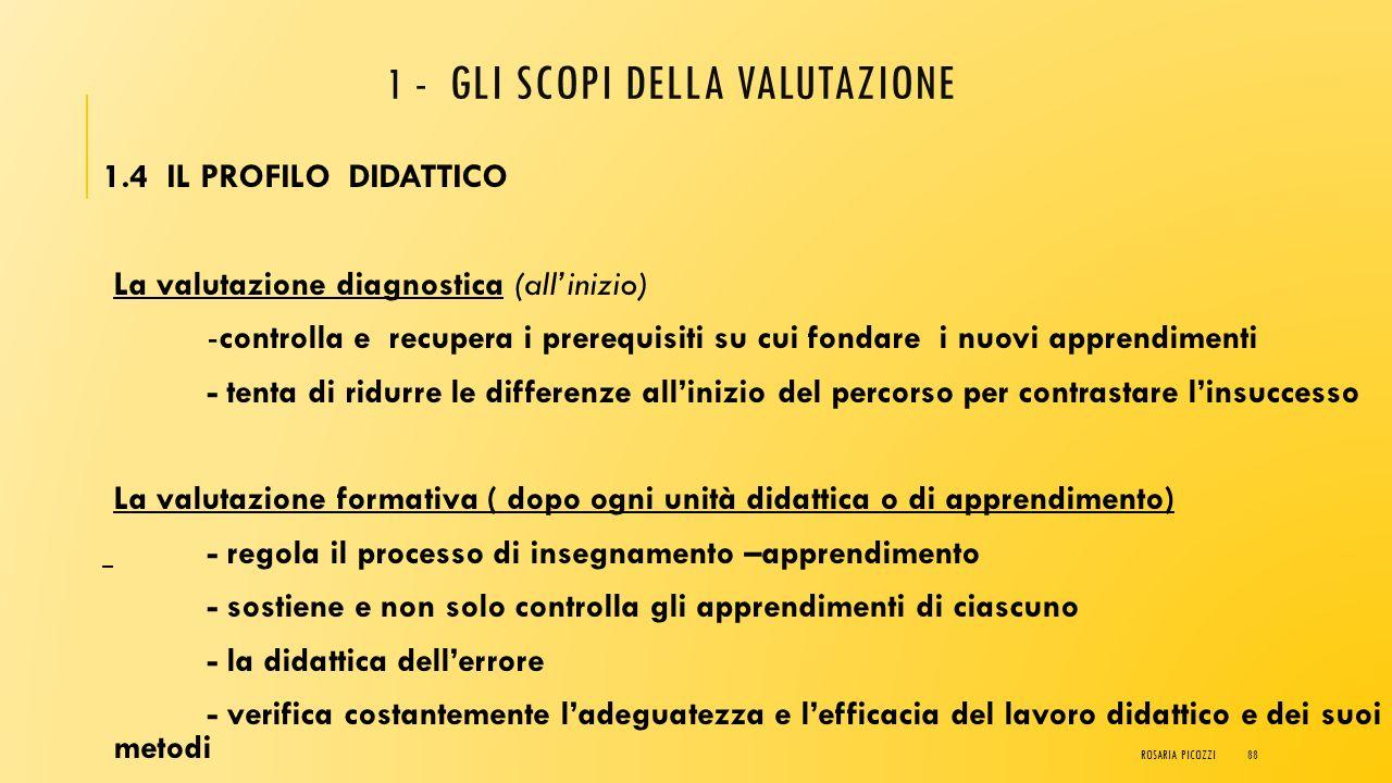 1 - GLI SCOPI DELLA VALUTAZIONE 1.3 IL PROFILO PEDAGOGICO La funzione educativa della valutazione - momento interno del dialogo educativo - strumento