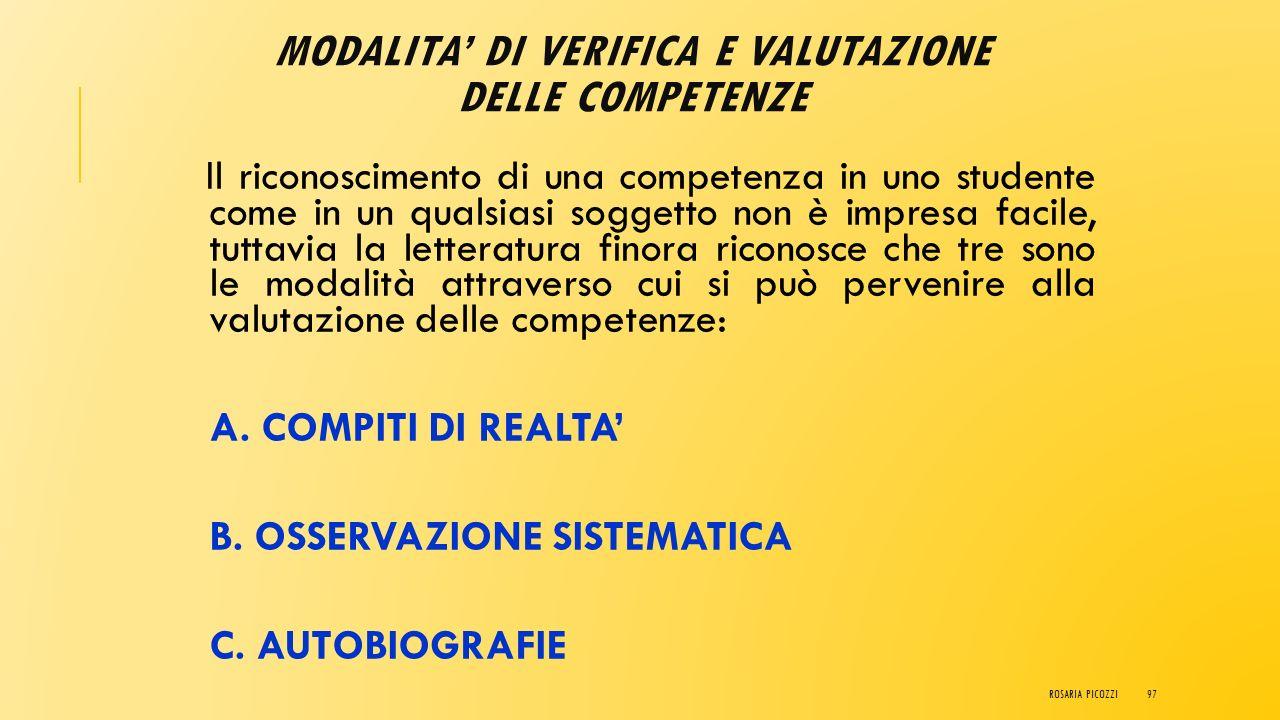 VALUTAZIONE COMPETENZE Ha le seguenti caratteristiche: La valutazione autentica si ha >[1].[1] [1] ROSARIA PICOZZI96
