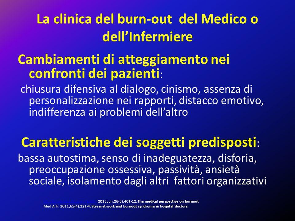La clinica del burn-out del Medico o dell'Infermiere Cambiamenti di atteggiamento nei confronti dei pazienti : chiusura difensiva al dialogo, cinismo,